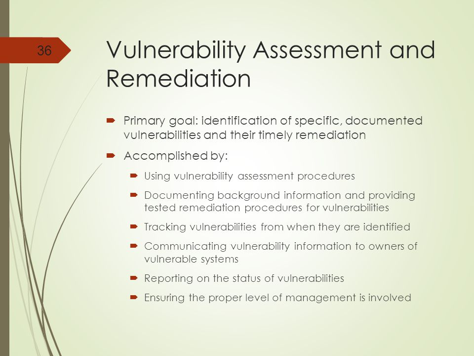 Vulnerability Assessment and Remediation