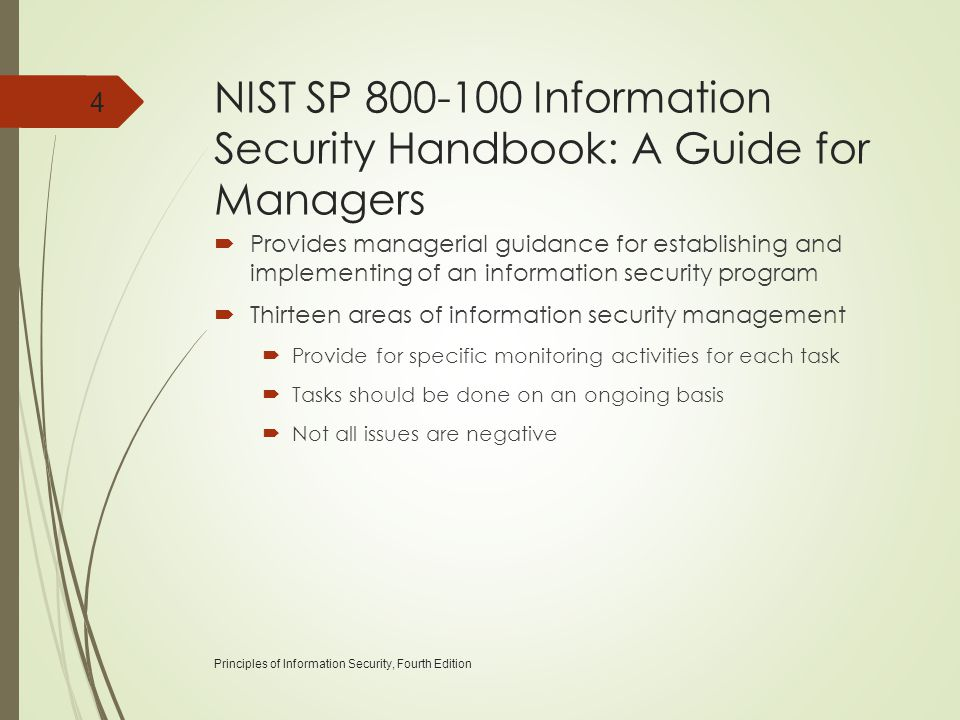NIST SP 800-100 Information Security Handbook: A Guide for Managers