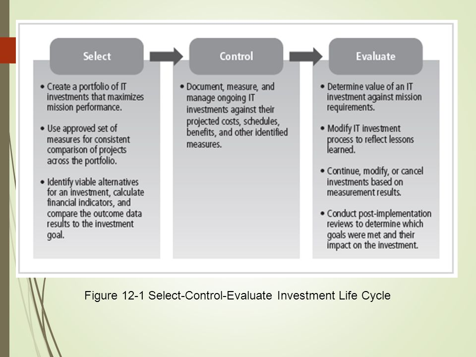 Figure 12-1 Select-Control-Evaluate Investment Life Cycle