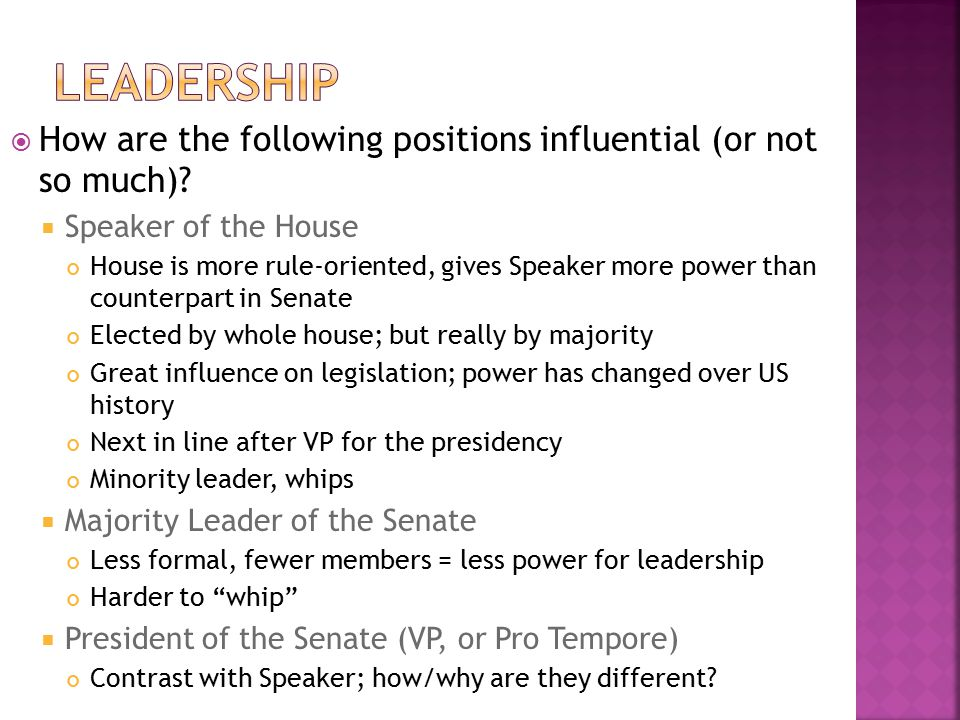 Leadership How are the following positions influential (or not so much) Speaker of the House.
