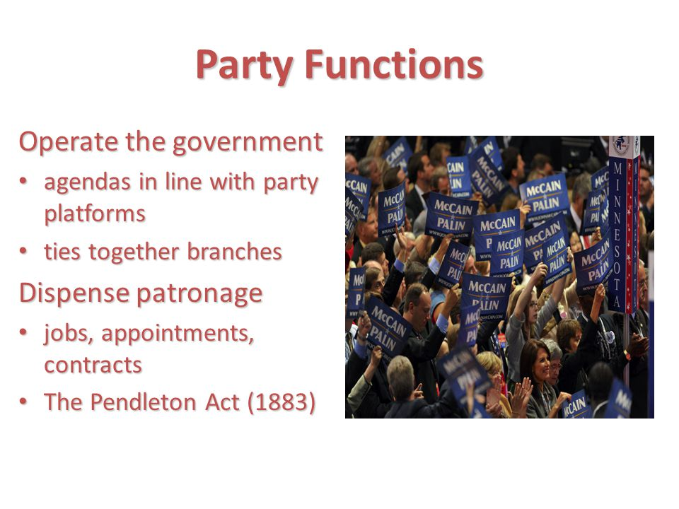 Party Functions Operate the government Dispense patronage