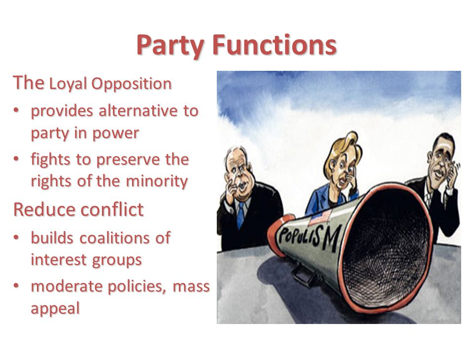Party Functions The Loyal Opposition Reduce conflict