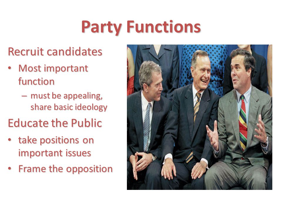 Party Functions Recruit candidates Educate the Public