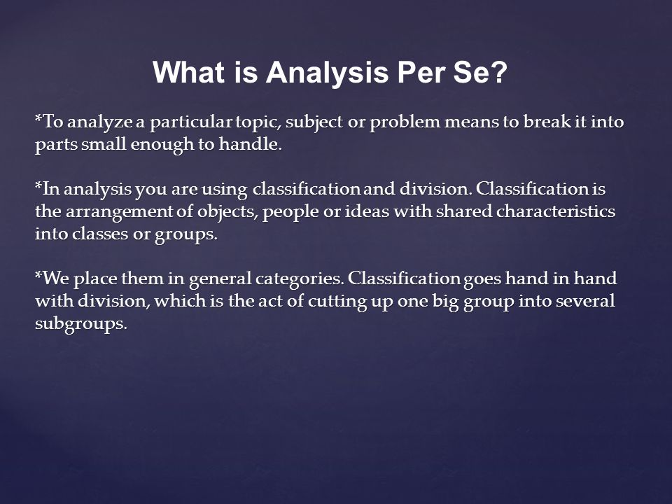 What is Analysis Per Se