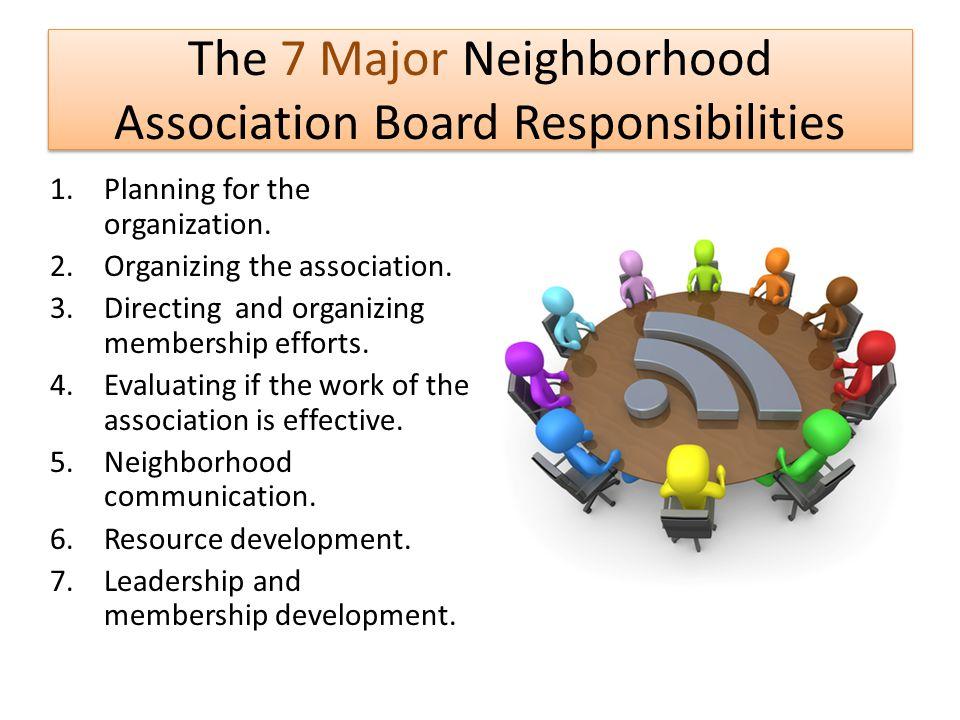 The 7 Major Neighborhood Association Board Responsibilities
