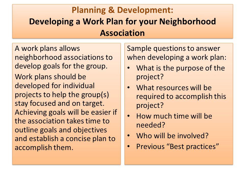 Planning & Development: Developing a Work Plan for your Neighborhood Association