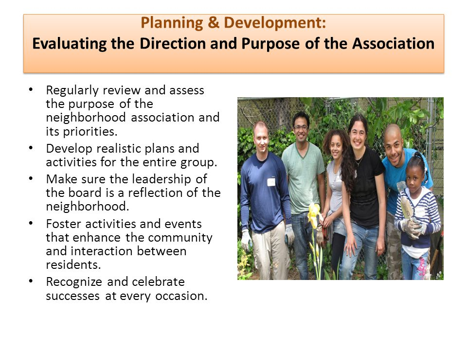 Planning & Development: Evaluating the Direction and Purpose of the Association