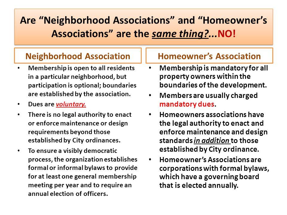 Neighborhood Association Homeowner's Association