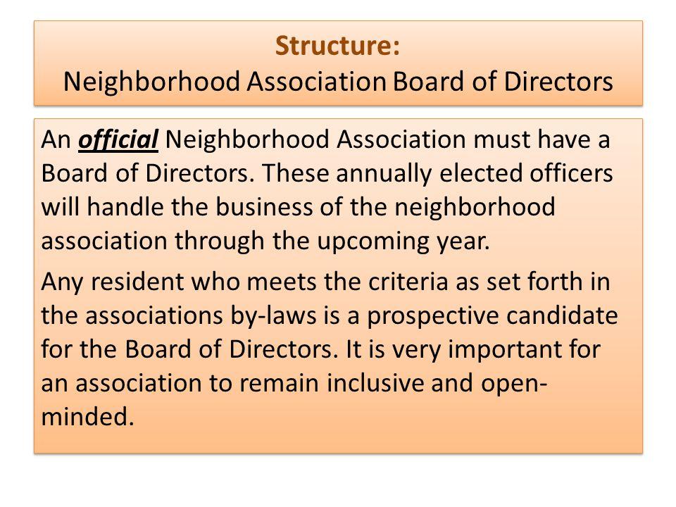 Structure: Neighborhood Association Board of Directors