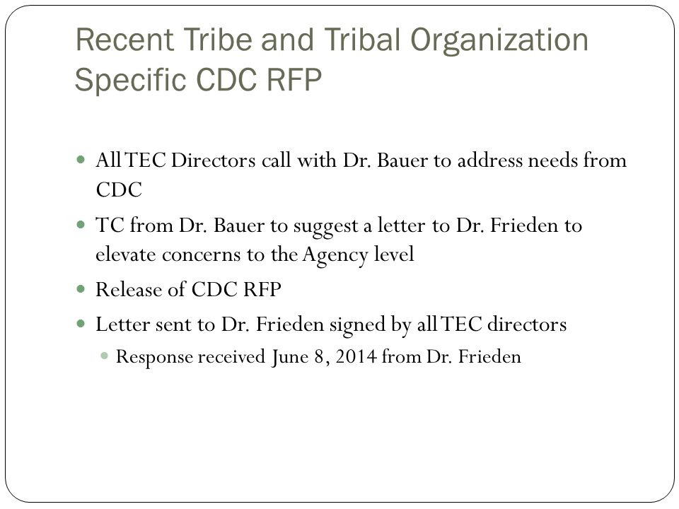 Recent Tribe and Tribal Organization Specific CDC RFP