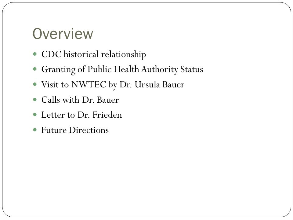 Overview CDC historical relationship