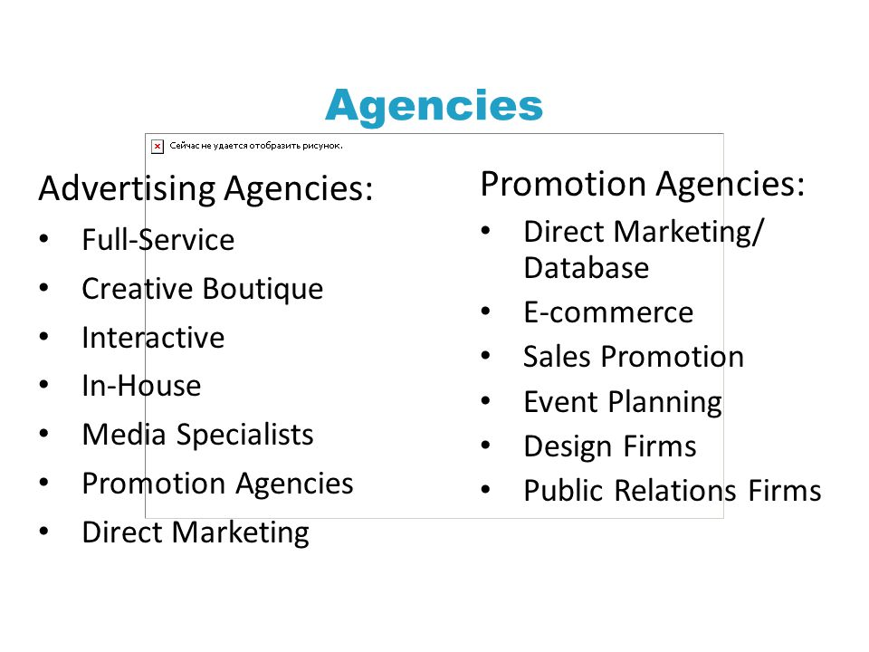 Agencies Advertising Agencies: Promotion Agencies: Full-Service