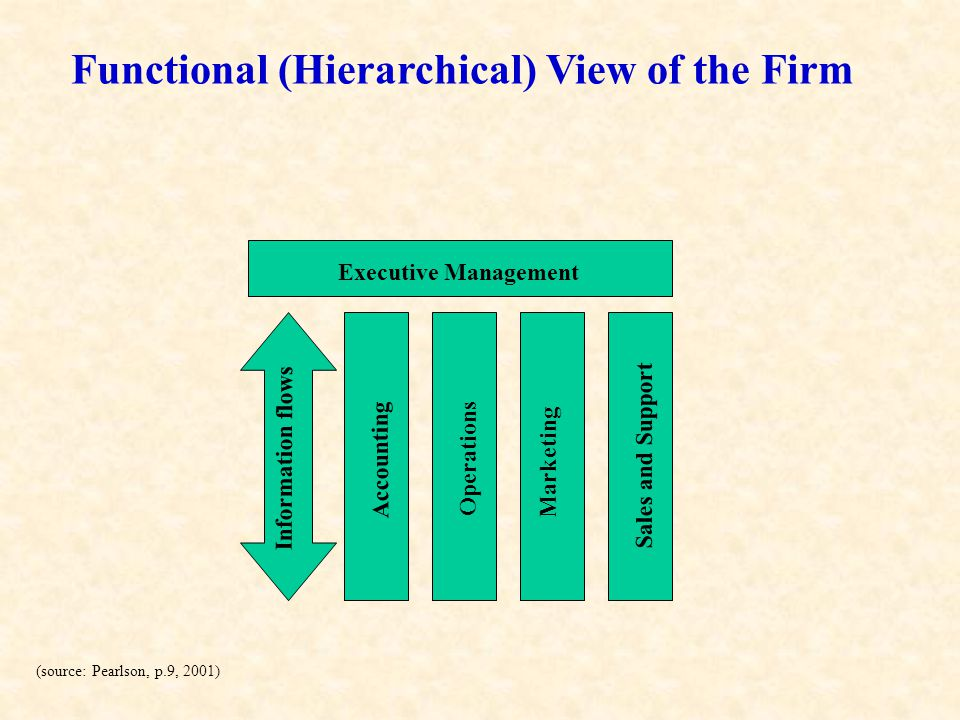 Functional (Hierarchical) View of the Firm
