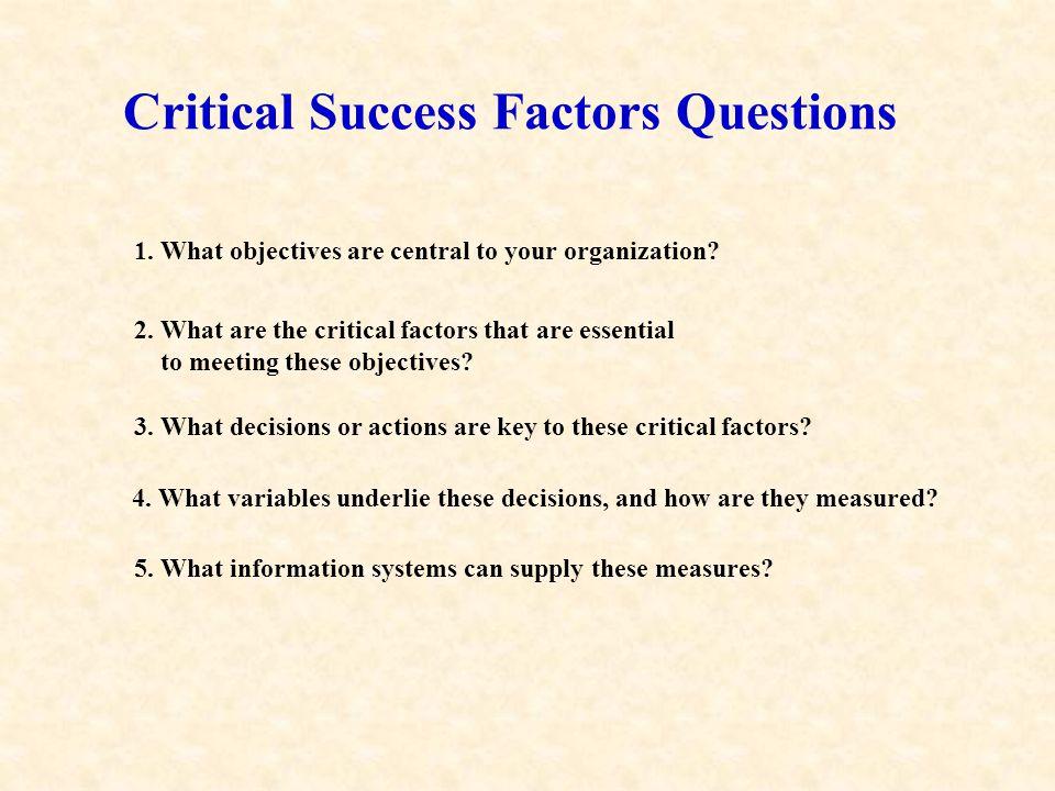 Critical Success Factors Questions