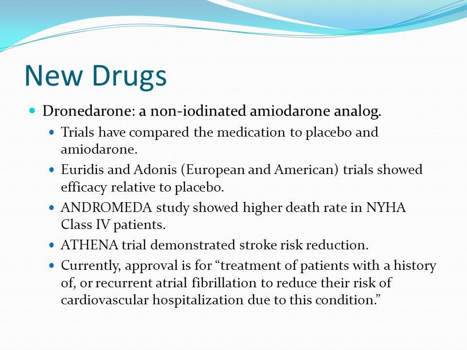 New Drugs Dronedarone: a non-iodinated amiodarone analog.