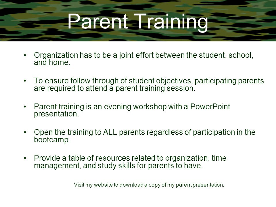 Visit my website to download a copy of my parent presentation.
