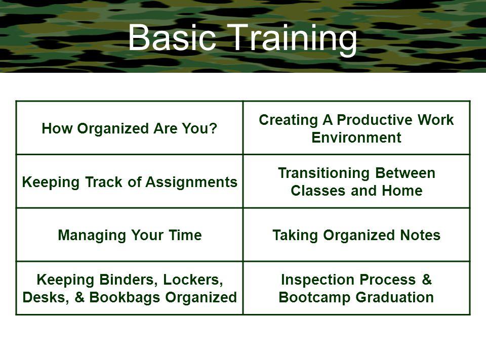 Basic Training How Organized Are You