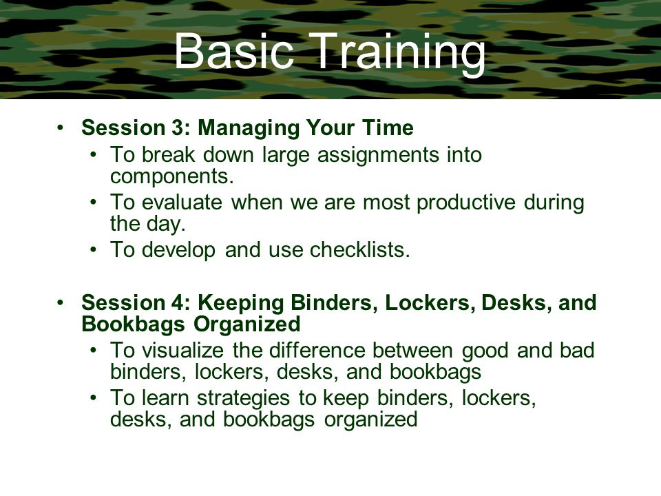 Basic Training Session 3: Managing Your Time