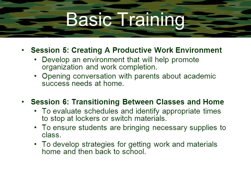 Basic Training Session 5: Creating A Productive Work Environment