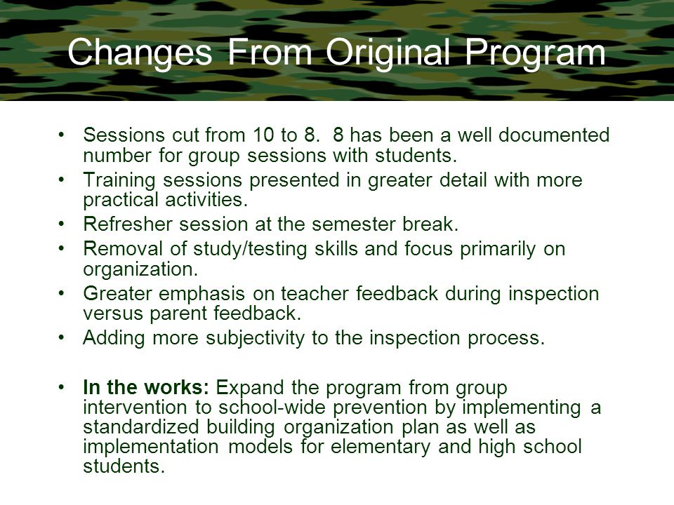 Changes From Original Program