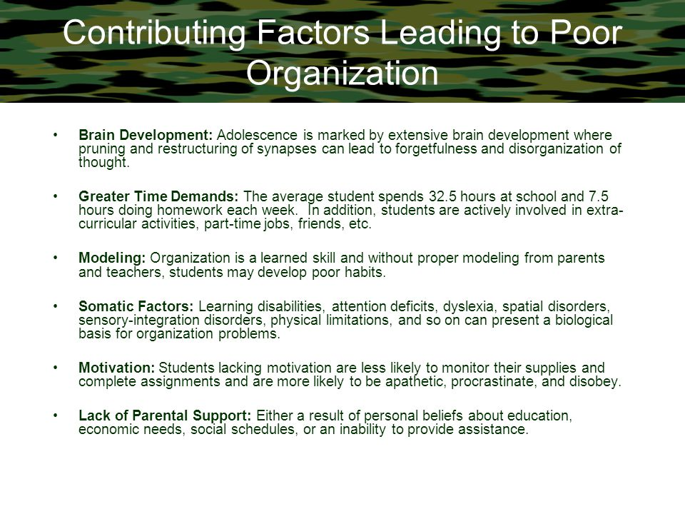 Contributing Factors Leading to Poor Organization