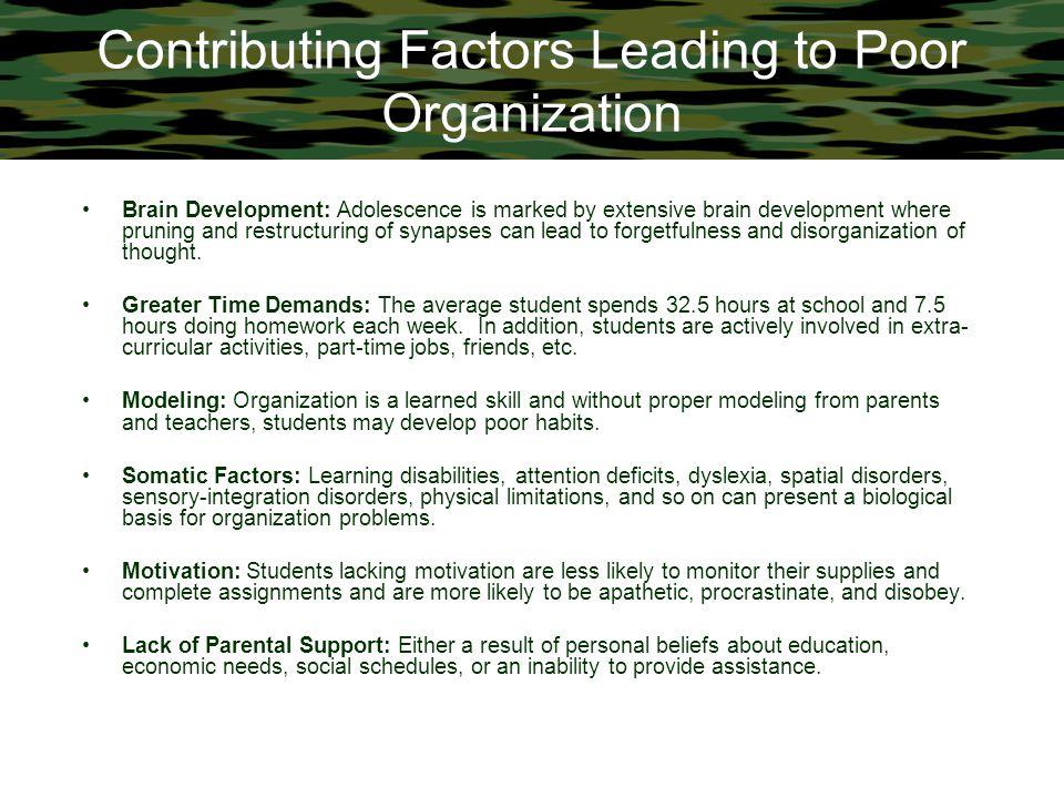 Contributing Factors Leading to Poor Organization