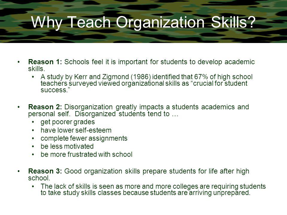 Why Teach Organization Skills