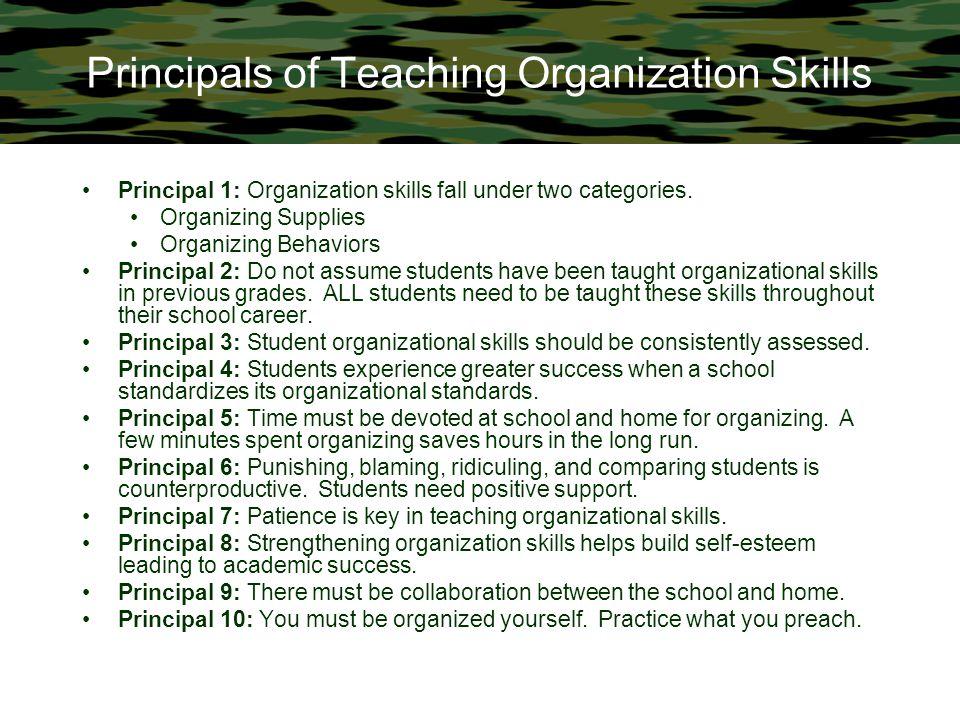 Principals of Teaching Organization Skills