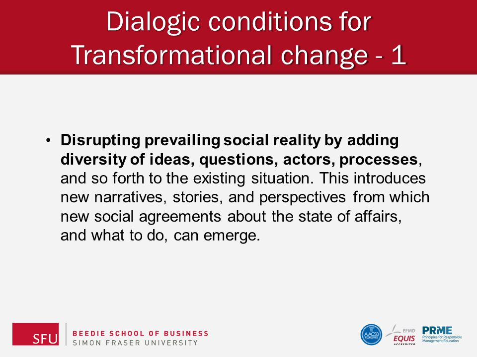 Dialogic conditions for Transformational change - 1