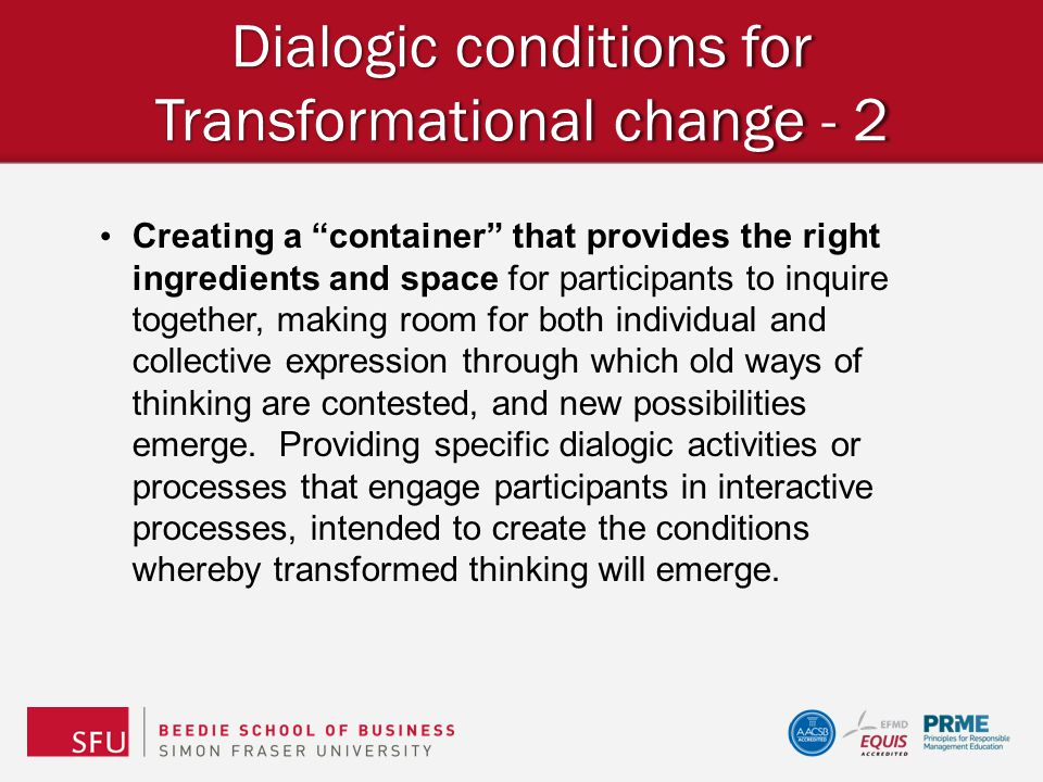 Dialogic conditions for Transformational change - 2