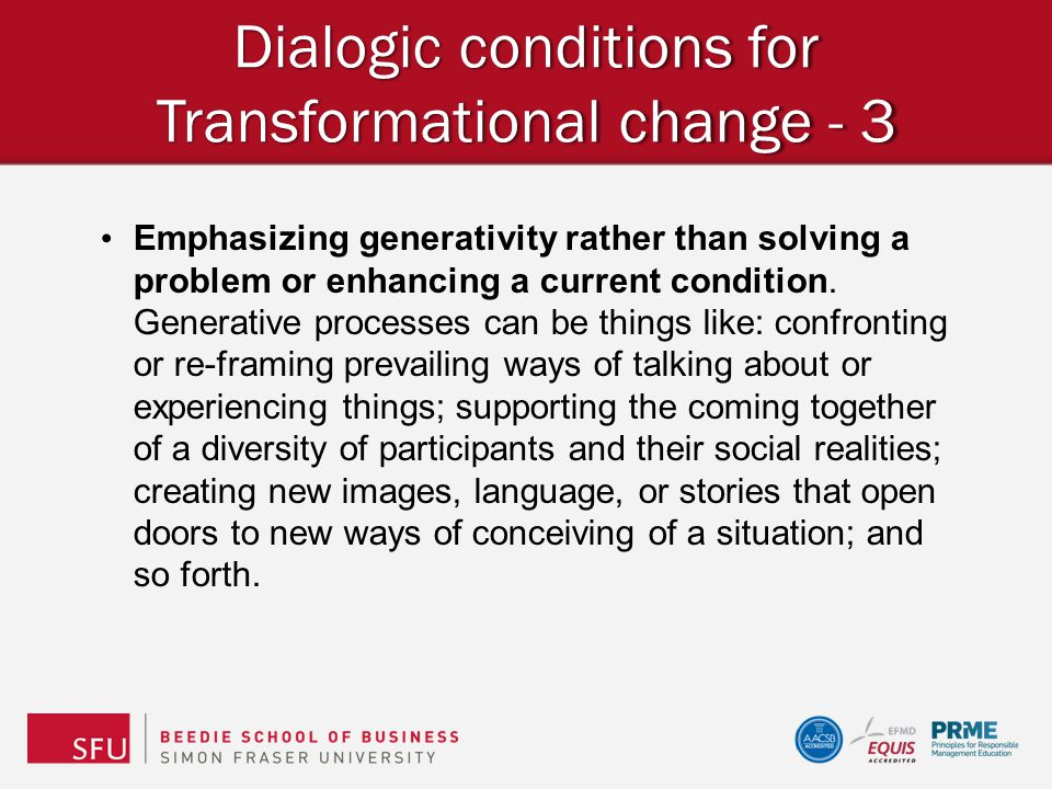 Dialogic conditions for Transformational change - 3