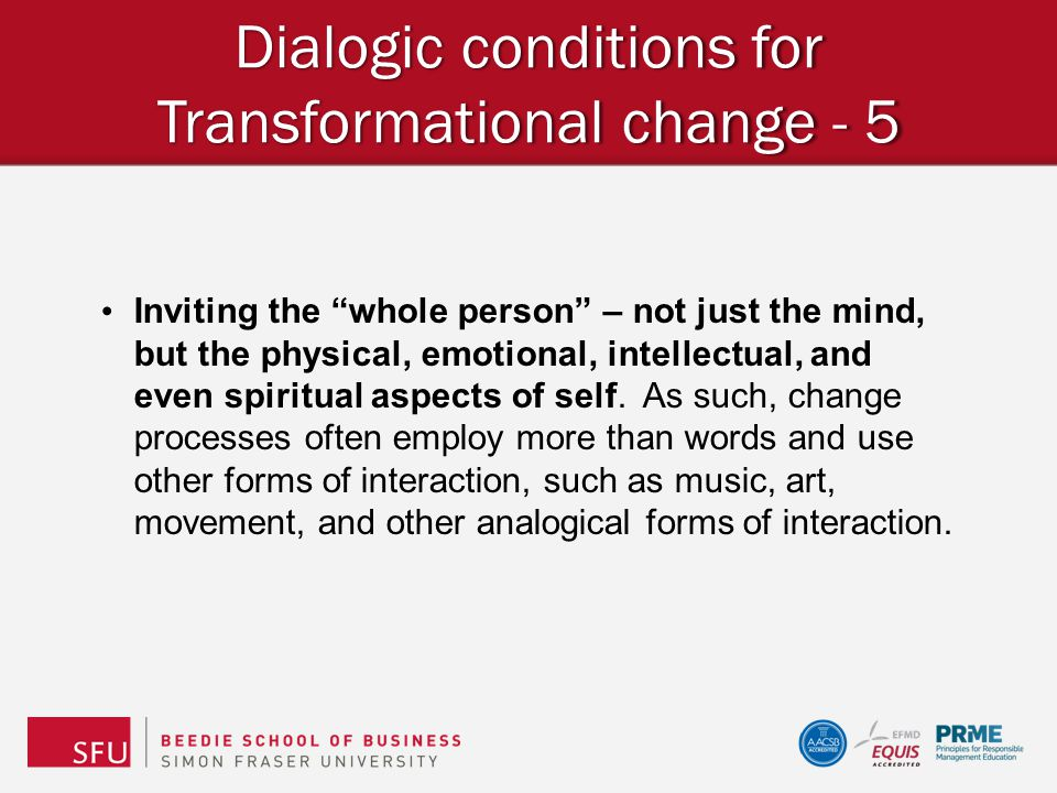 Dialogic conditions for Transformational change - 5