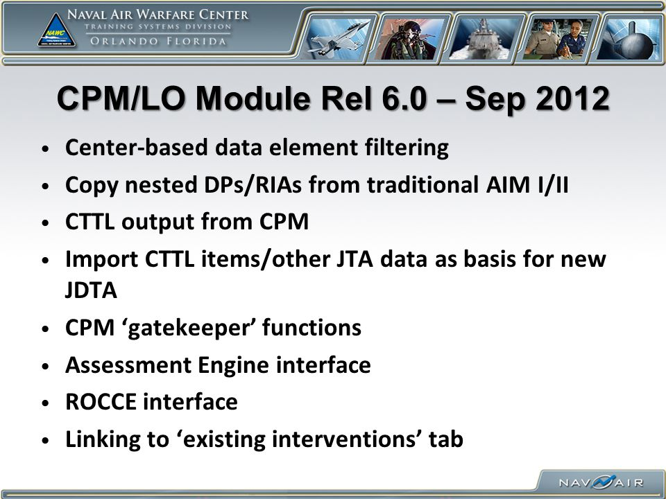 CPM/LO Module Rel 6.0 – Sep 2012 Center-based data element filtering