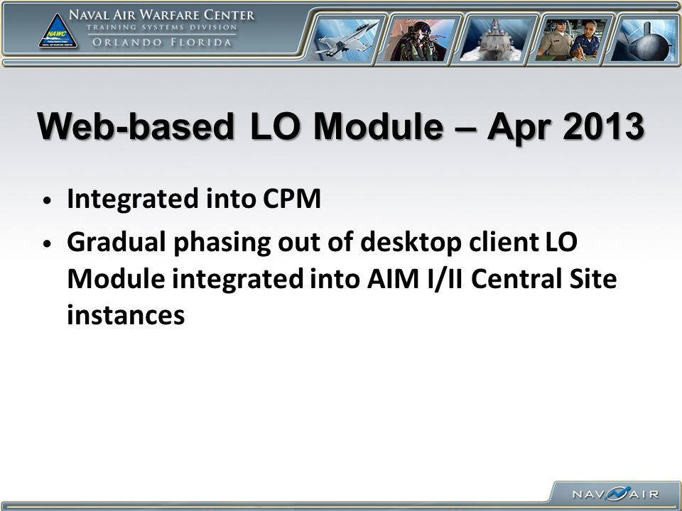 Web-based LO Module – Apr 2013