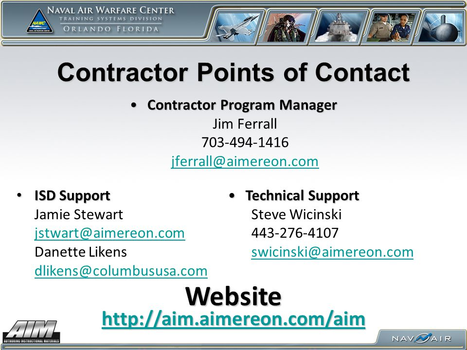 Contractor Points of Contact