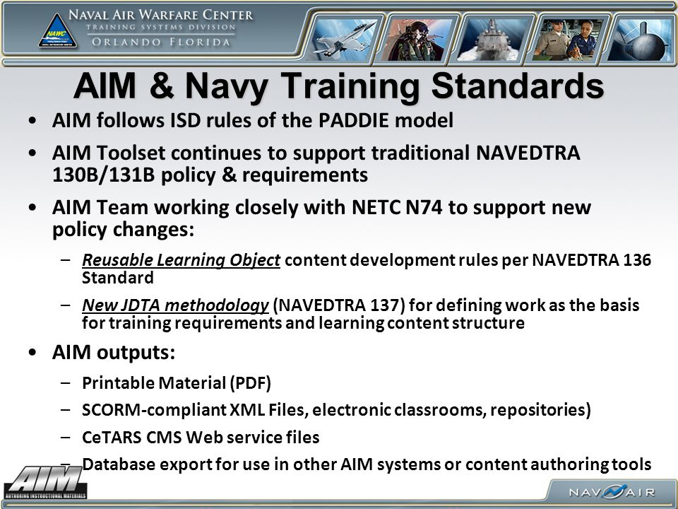 AIM & Navy Training Standards