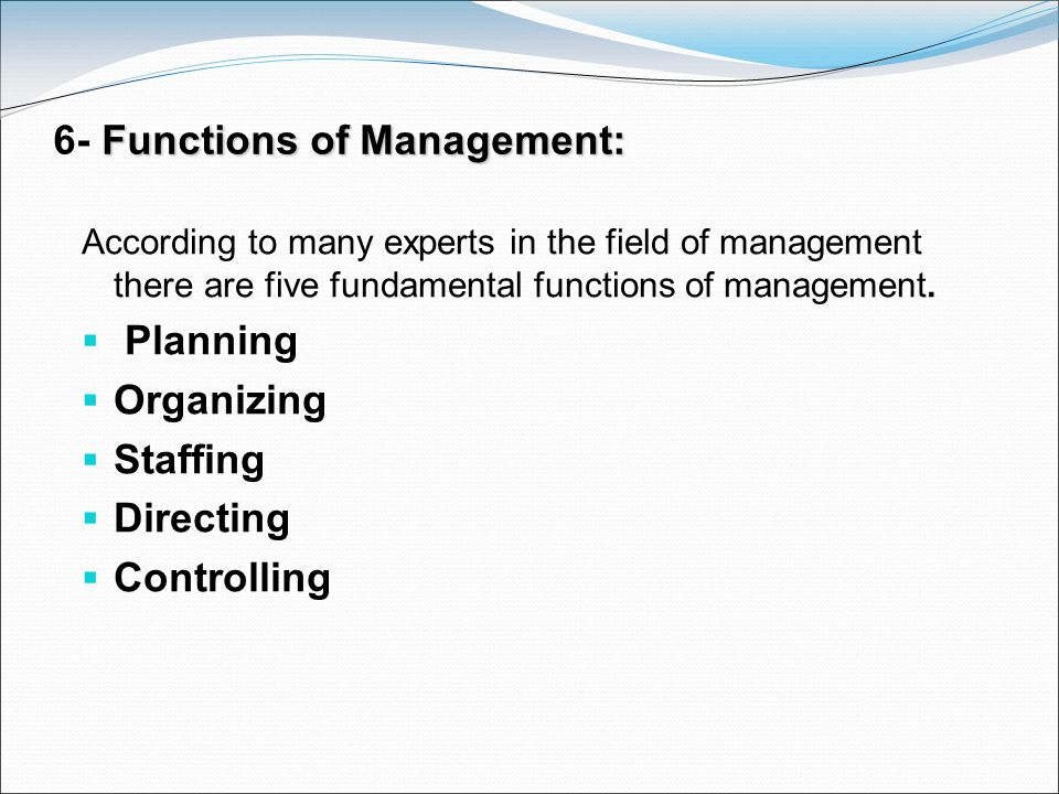 6- Functions of Management: