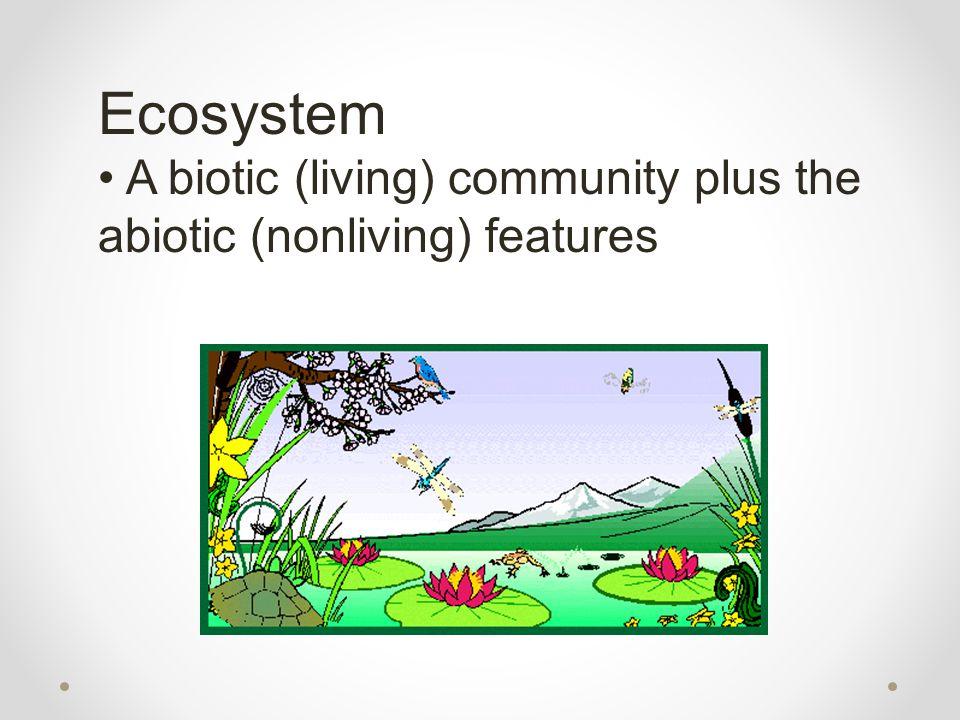 Ecosystem A biotic (living) community plus the abiotic (nonliving) features