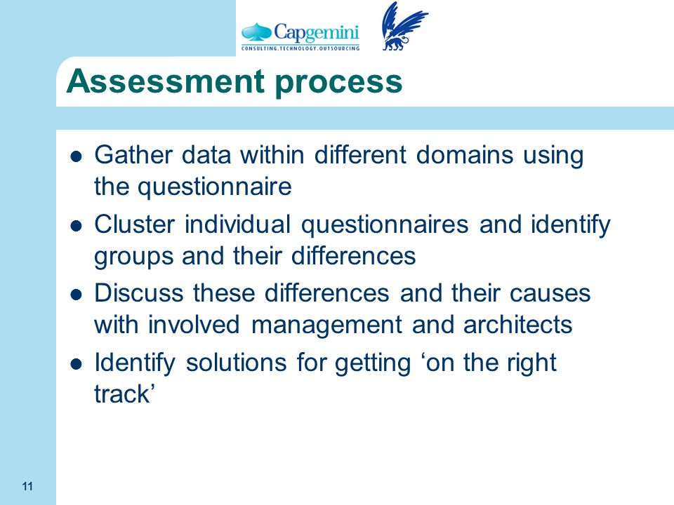 Assessment process Gather data within different domains using the questionnaire.