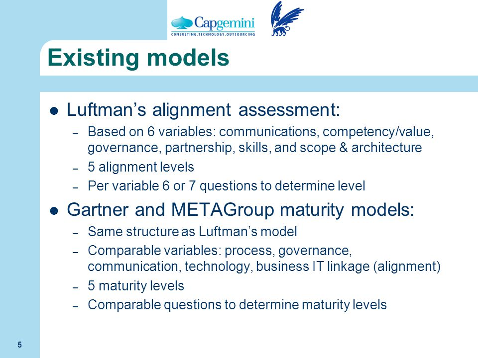 Existing models Luftman's alignment assessment: