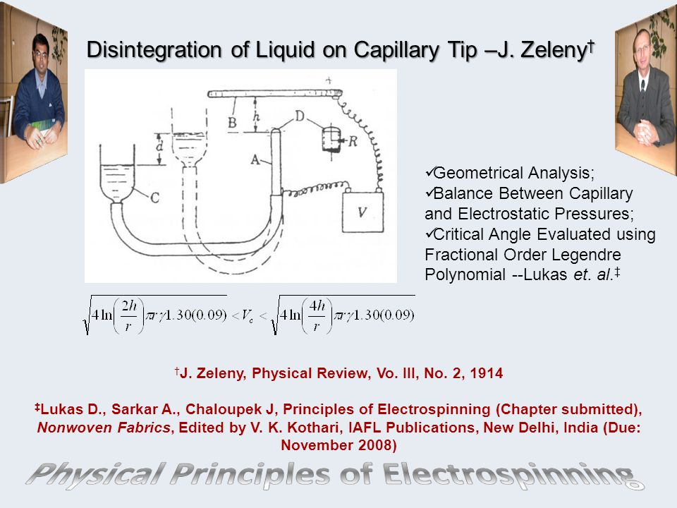 Disintegration of Liquid on Capillary Tip –J. Zeleny†