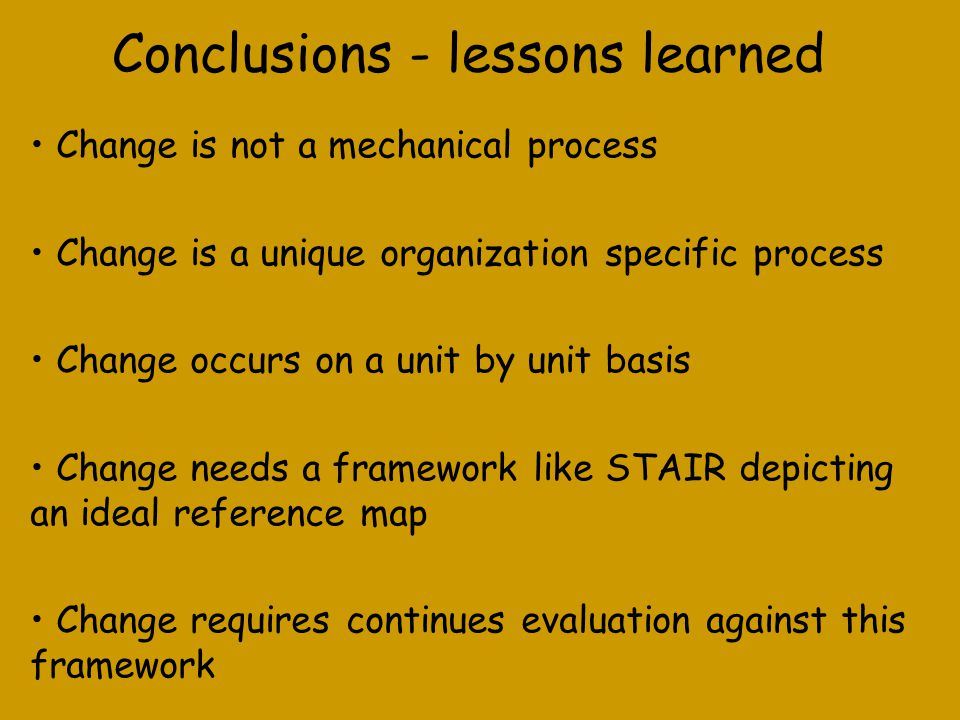 Conclusions - lessons learned