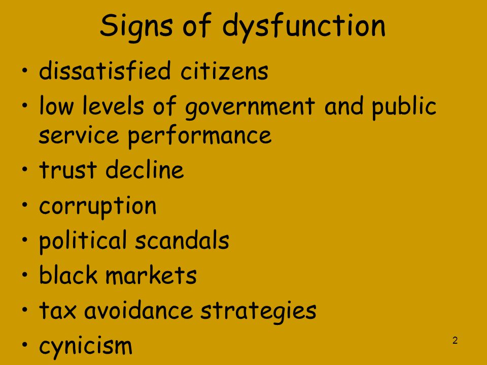 Signs of dysfunction dissatisfied citizens
