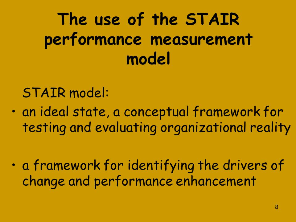 The use of the STAIR performance measurement model