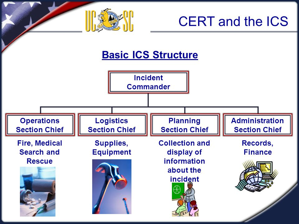 CERT and the ICS Basic ICS Structure Incident Commander