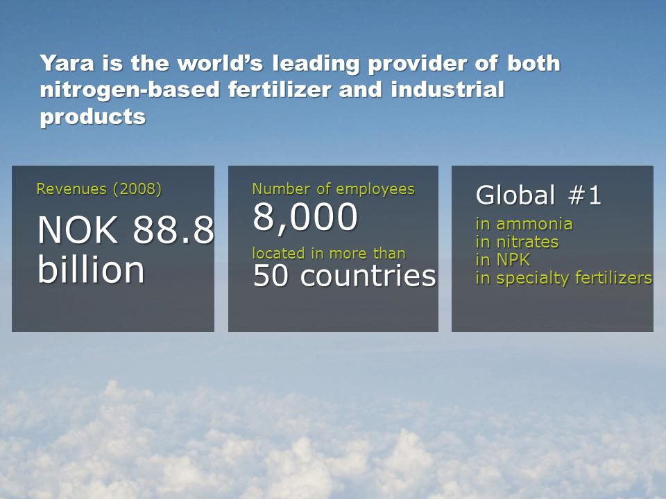 Yara is the world's leading provider of both nitrogen-based fertilizer and industrial products