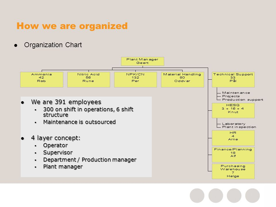 How we are organized Organization Chart We are 391 employees