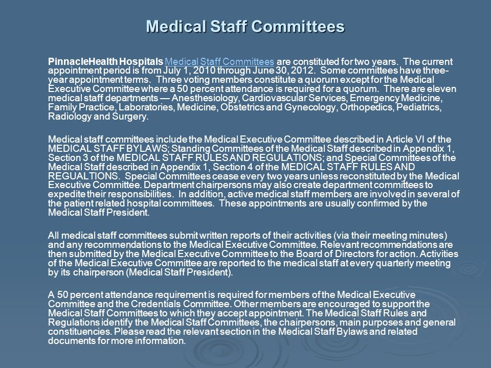 Medical Staff Committees