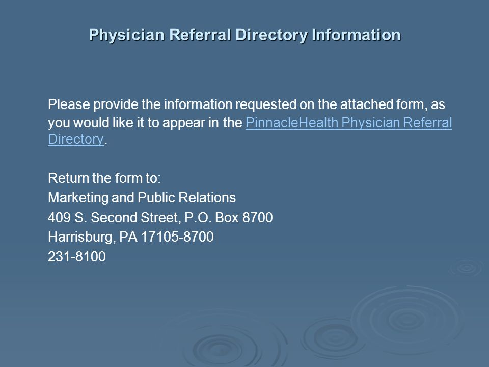 Physician Referral Directory Information