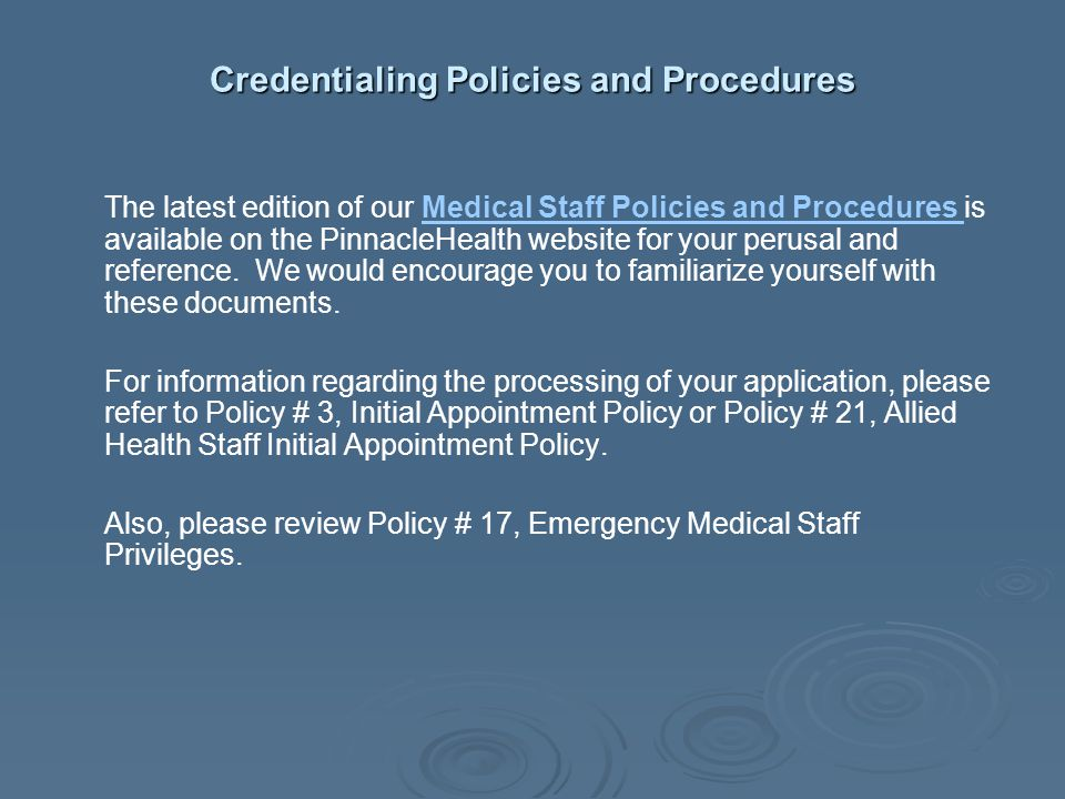 Credentialing Policies and Procedures